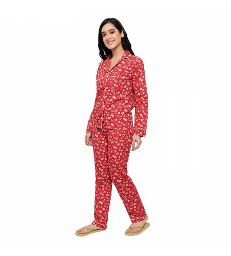 Cotton Fabric Night Suit Red