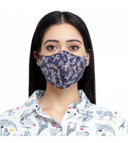Party Wear Blue Star Mask (pack Of 1)