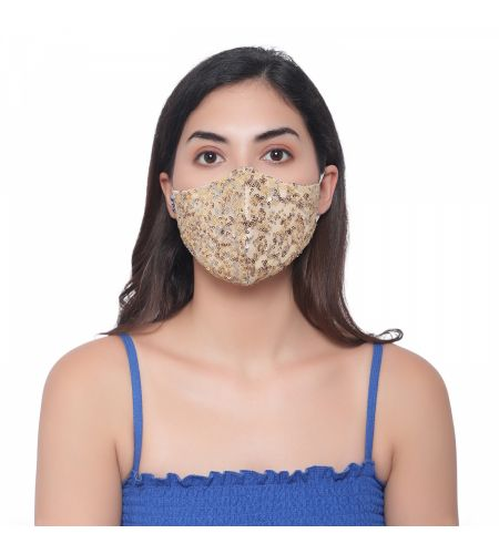 Party Wear Yellow Mask (pack Of 3)