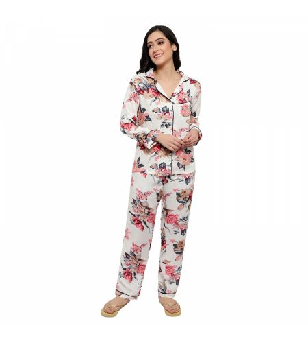 Rayon Fabric Night Suit Off White