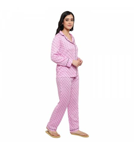 Rayon Fabric Night Suit Pink